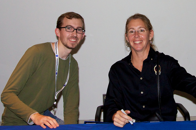 Me with STS-135 Mission Specialist Sandy Magnus