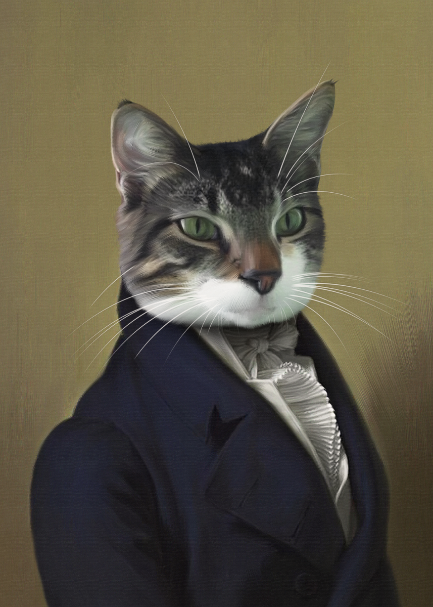Pet portrait of Bertie wearing a frock-style collared coat with a ruffled tie